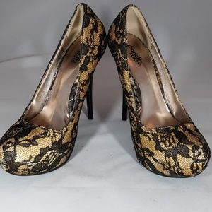 Charlotte Russe black lace on yellow gold heels 9